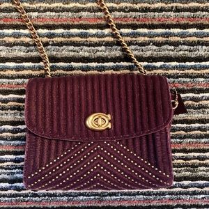 Coach purple velvet quilted mini